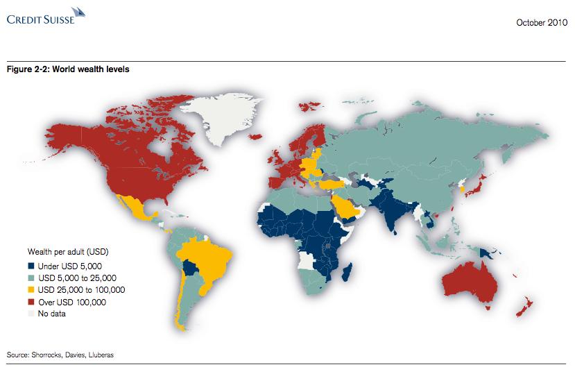... Suisse que representa la distribución de la riqueza en el mundo