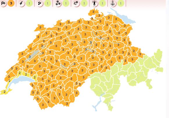 Advertencia de vientos fuertes en Suiza vigente el 27 de diciembre de 2012 - Mapa cortesía de MeteoSuisse