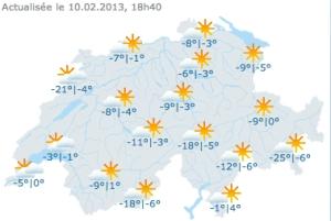 Frío invernal el 10 de febrero en Suiza. Mapa de MeteoSuisse.
