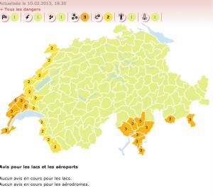 Mapa de MeteoSuisse pronostica nieve para la región del Lago de Ginebra y el Ticino
