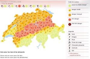 Mapa de riesgos de lluvia en Suiza el sábado