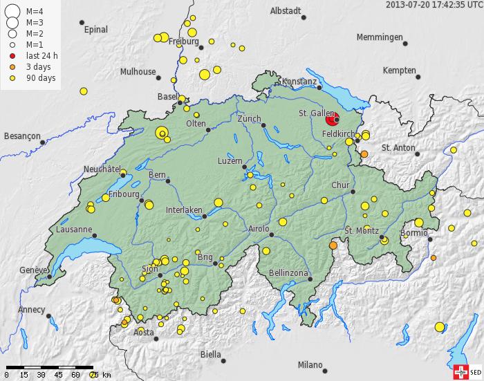 Mapa suizo de terremoto en St Gallen - Cortesía del SED
