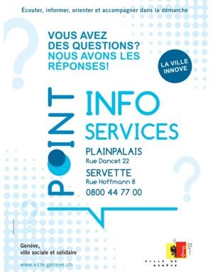 Afiche de los puntos de servicio de información de Ginebra