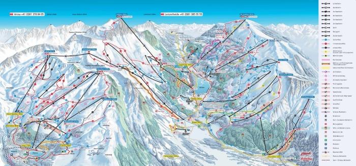 Este es el mapa de las dos estaciones de esquí que se encuentran ahora conectadas: Arosa - Lenzerheide en los Grisones.