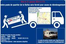 Afiche del cambio de estación de policía en Lausana