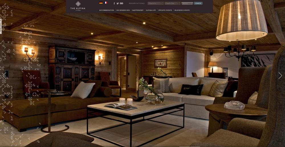 Sala de la suite del Hotel Alpina en donde se hospedan los invitados