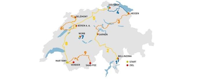 Mapa del recorrido de la 78 Vuelta a Suiza