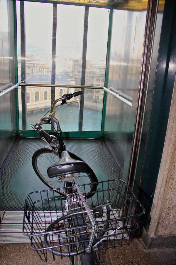 Bike Riding an elevator in Geneva