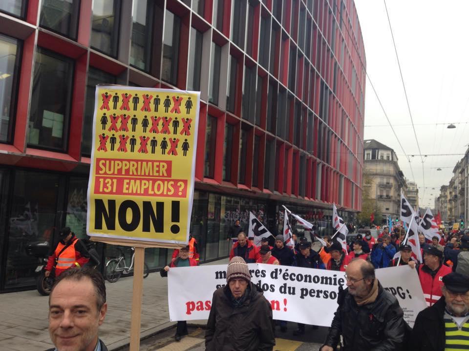 Foto de manifestantes del TPG y otros sindicatos del 27 de noviembre en Ginebra - Foto de la SEV