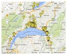 Ubicación de cámaras de seguridad alrededor del Lago de Ginebra, Suiza