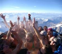 jacuzzi mobil en la cima del Monte Blanco