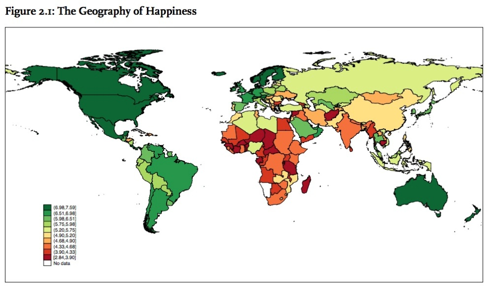 La Geografía de la Felicidad - cortesía del World Happiness Report.