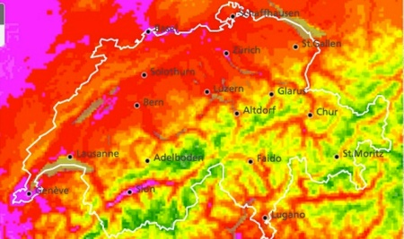 Heat radar Switzerland