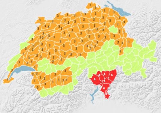 Peligro de calor en Suiza y cantón Ticino