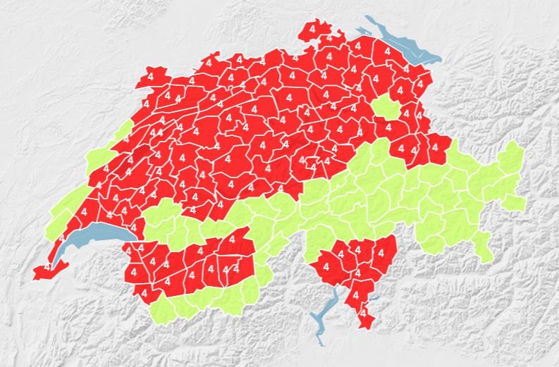 Este mapa de MeteoSuisse pronóstica una ola de calor de Grado 4 para la mayor parte de Suiza hasta el martes 8 de julio.