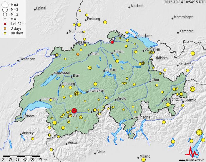 Mapa indicando los movimientos sísmicos de las últimas horas en rojo y de los últimos días en amarillo. Mapa, SED.