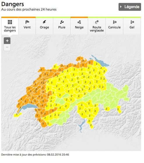 Advertencia de peligro por vientos - Mapa, MeteoSuisse.